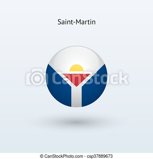 Saint-Martin round flag. Vector illustration. - csp37889673