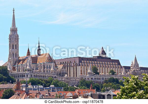 Saint Matthias church and Fisherman Bastion in Budapest, Hungary - csp11870478
