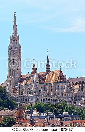 Saint Matthias church and Fisherman Bastion in Budapest, Hungary - csp11870487