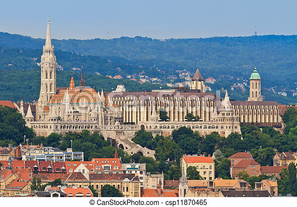Saint Matthias church and Fisherman Bastion in Budapest, Hungary - csp11870465