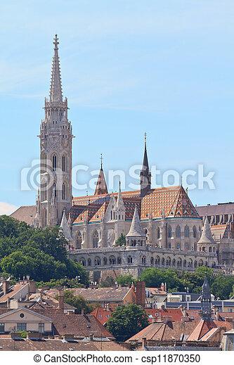 Saint Matthias church and Fisherman Bastion in Budapest, Hungary - csp11870350
