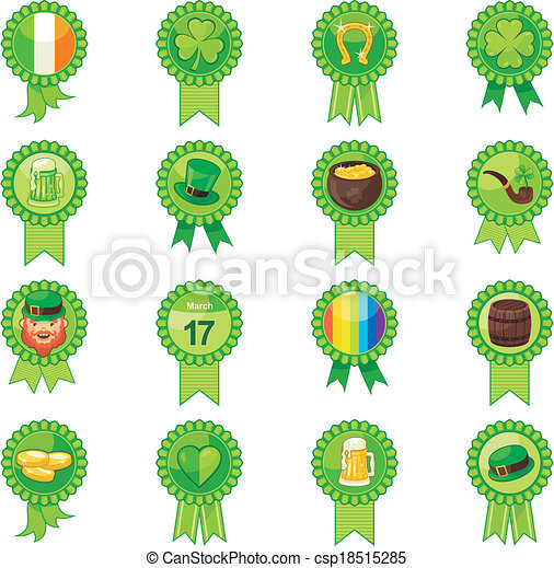 Saint Patrick Day Badges Set - csp18515285