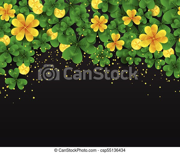 Saint Patrick Day Horizontal Seamless Border With Golden Shimmergreengold Fourthree Leaf Clovers And Coins On Black Background Party
