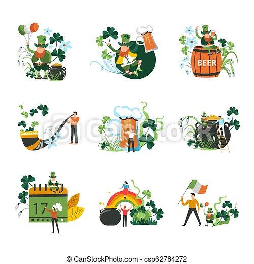 Saint Patrick holiday celebration, Irish symbols of luck - csp62784272