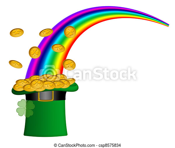 Saint Patricks Day Hat of Gold with Rainbow - csp8575834