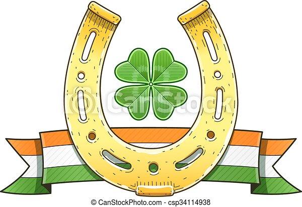 Saint Patrick's Day symbols. Horseshoe. Flag. Shamrock - csp34114938