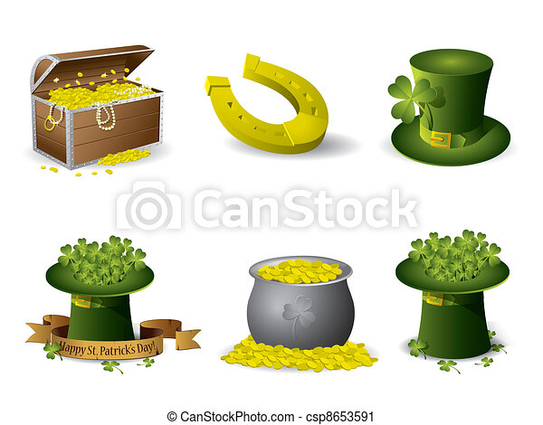 Saint Patrick's Day symbols vector set - csp8653591