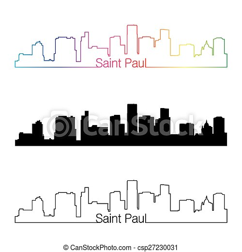 Saint Paul skyline linear style with rainbow - csp27230031