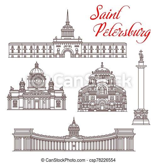 Saint Petersburg travel landmarks. Russian tourism - csp78226554