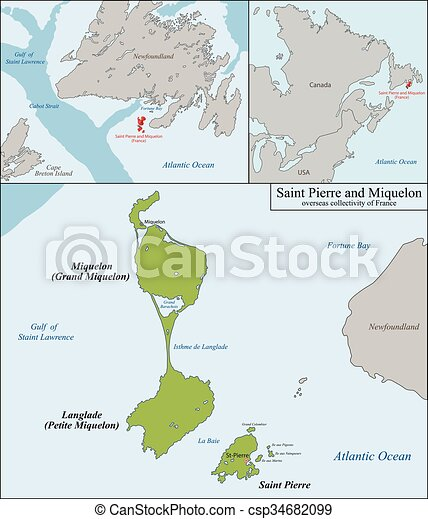 Saint pierre and miquelon map Overseas collectivity of eps
