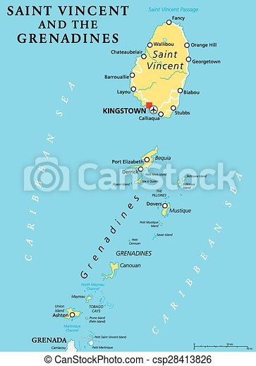 Saint vincent and the grenadines political map with capital