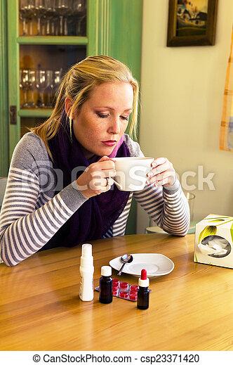 saison, a, femme, grippe, cold. - csp23371420