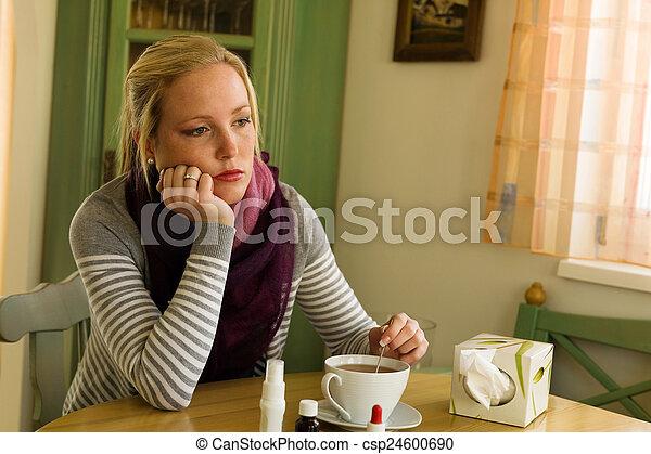 saison, a, femme, grippe, cold. - csp24600690