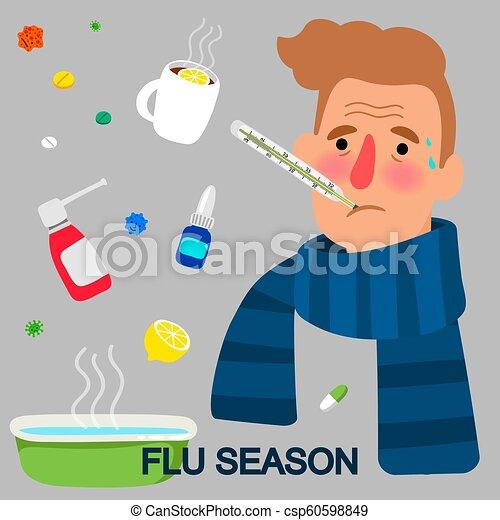 saison, concept, grippe, dessin animé - csp60598849