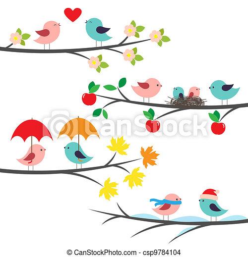 saisonnier, branches, oiseaux - csp9784104