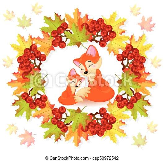 saisonnier, mignon, character., renards, automne, vecteur, dessin animé, carte - csp50972542