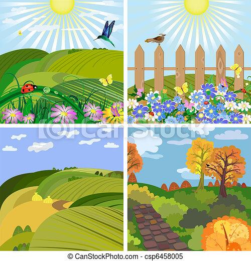 saisonnier, parc, collines, paysage - csp6458005