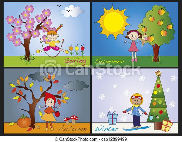 Quatre saisons enfants illustration - Dessin 4 saisons ...