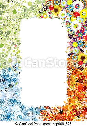 saisons, printemps, winter., -, automne, été, quatre, cadre - csp9681878