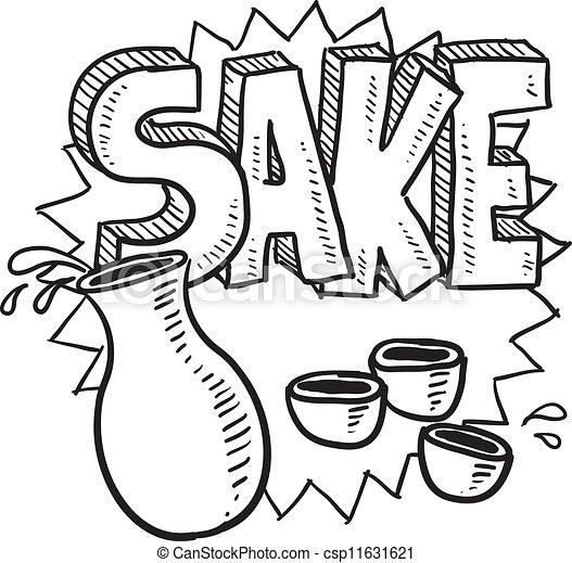 Sake alcohol vector sketch - csp11631621