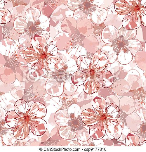 Sakura seamless pattern - csp9177310