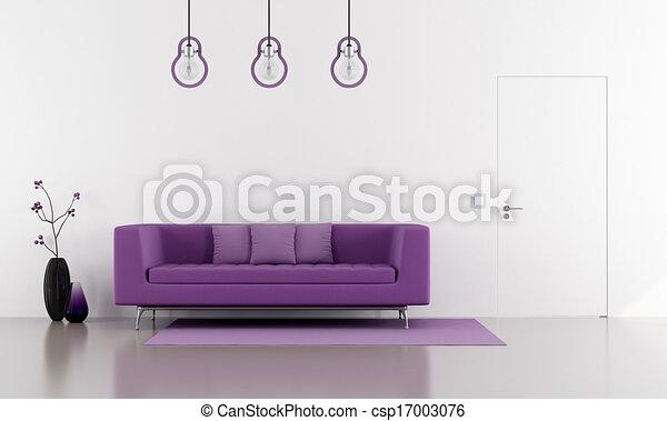 sofá púrpura en un salón blanco minimalista - csp17003076