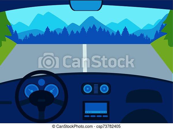 salón, coche, vista, illustration., vector, montañas, plano, camino - csp73782405