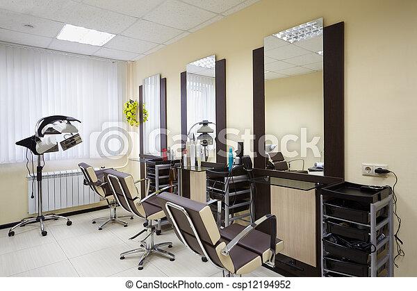 salón, trabajando, lugares, belleza, tres, barbería, habitación - csp12194952