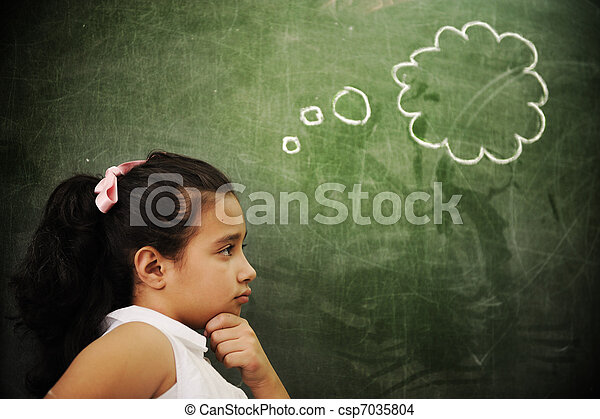 sala aula, atividades, educação, pensando, espaço, escola, menina, cópia, esperto - csp7035804