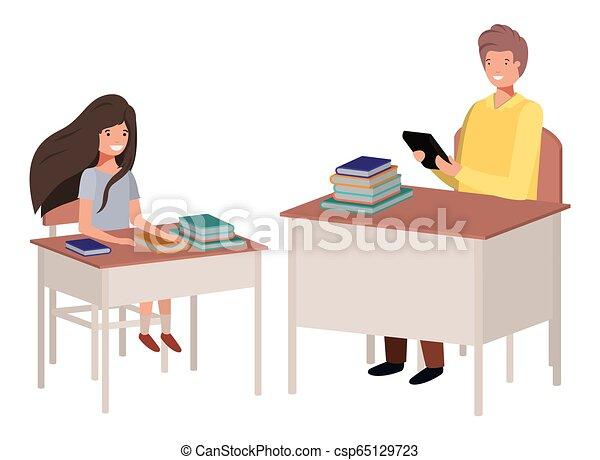 sala aula, professor, estudante - csp65129723