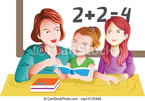 sala aula, professor, estudante - csp14135446