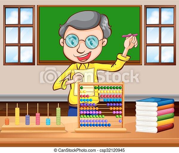 sala aula, professor, matemática - csp32120945