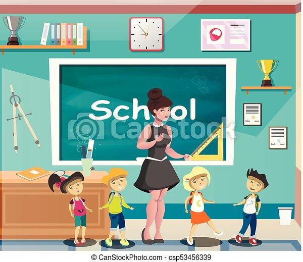 sala aula, teacher., crianças escola, feliz - csp53456339