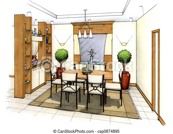 Sala da pranzo schizzo stanza semplice submitter cenando disegno artist 39 s interno - Sala da pranzo dwg ...