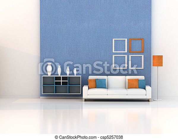 sala de estar, quarto moderno - csp5257038