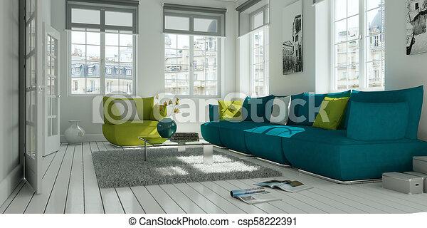 Sala De Estar Sofa Modernos Desenho Interior Verde Branco Sala