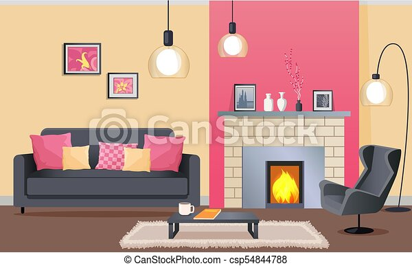Sala, diseño, interior, chimenea, cómodo. Alfombra, vida, café ...
