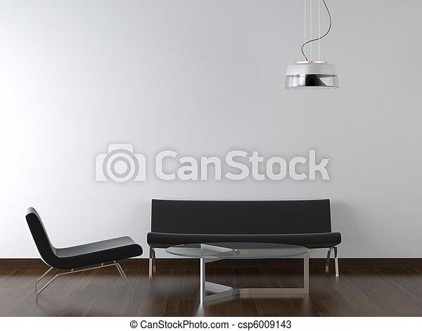 Diseño de interiores, sala de estar en blanco - csp6009143
