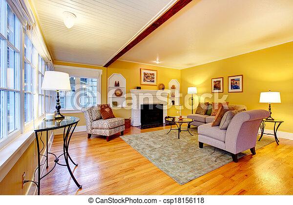 Elegante sala de estar con chimenea de fondo de ladrillo blanco - csp18156118