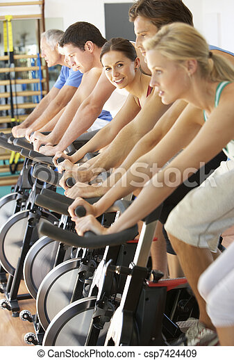 sala gimnastyczna, kobieta kolarstwo, przędzenie, klasa - csp7424409