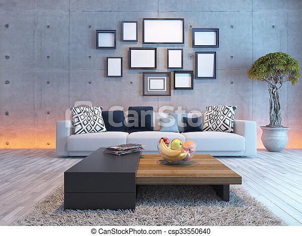 Sala, imagen, pared, concreto, diseño de interiores, marcos. Sala ...