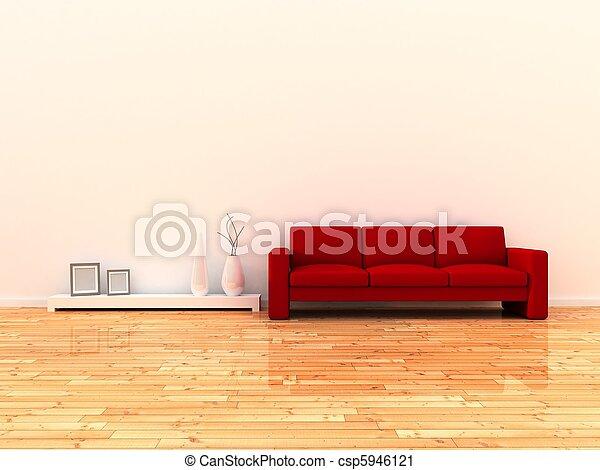 sala, interior, modernos - csp5946121