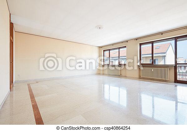 Salón vacío, suelo de mármol - csp40864254