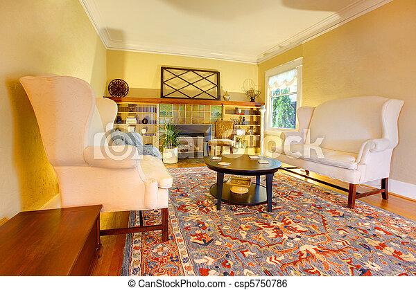 La sala de estar de oro lujo con dos sofás blancos - csp5750786