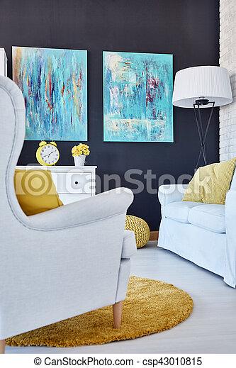 Azul Sala Pinturas Moderno Amarillo Decoraciones