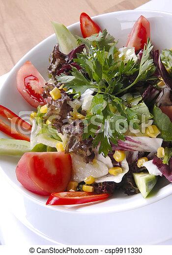 salad at the plate - csp9911330