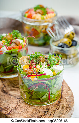 Salad in glass with pickled mushrooms - csp36096166