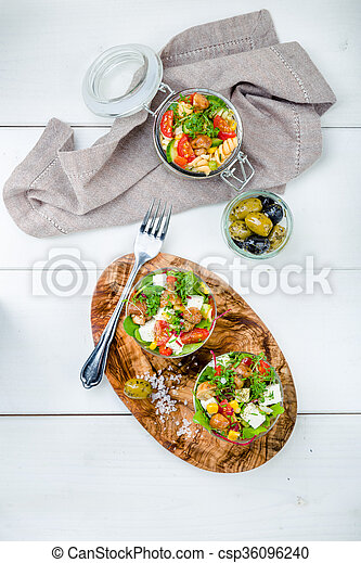 Salad in glass with pickled mushrooms - csp36096240