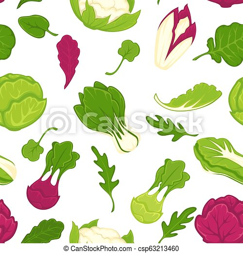 Salad lettuces and cabbage vegetables seamless pattern. - csp63213460