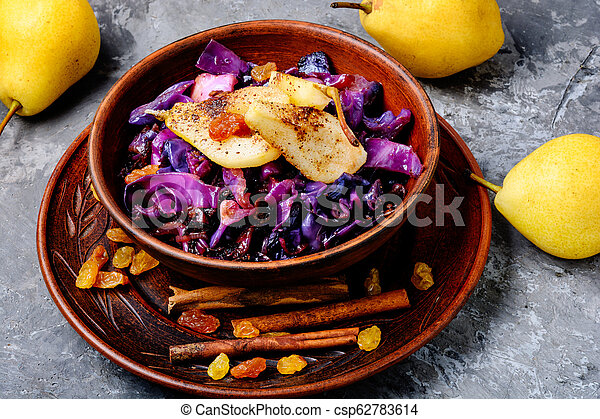 Salad of cabbage, pears and spices - csp62783614